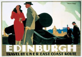 Edinburgh, Mons Meg. LNER Vintage Travel Poster by Frank Newbould. c1935